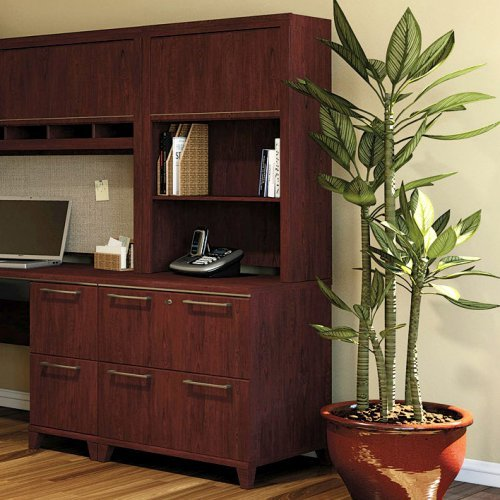 Bush Enterprise Lateral Filing Cabinet with Hutch - Harvest Cherry