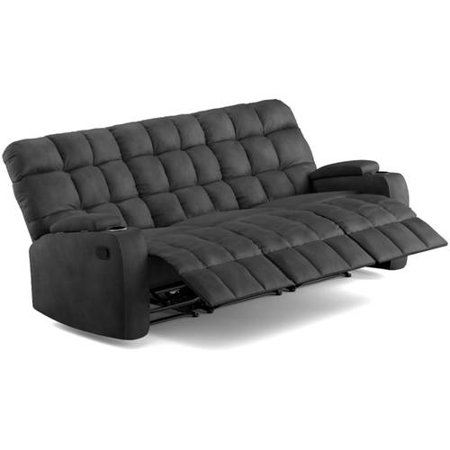 Prolounger Wall Hugger Storage Arm 3 Seat Reclining Sofa In Gray Microfiber