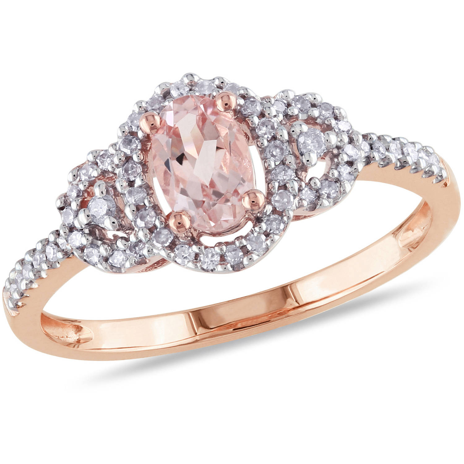 1 2 Carat T.G.W. Oval-Cut Morganite and 1 6 Carat T.W. Diamond 10kt Pink Gold Halo Cocktail Ring by Delmar Manufacturing LLC