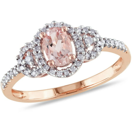 White Gold Pinky Rings (1/2 Carat T.G.W. Oval-Cut Morganite and 1/6 Carat T.W. Diamond 10kt Pink Gold Halo Cocktail Ring)