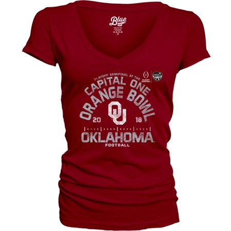 Oklahoma Sooners Blue 84 Women's College Football Playoff 2018 Orange Bowl Bound Hayneedle V-Neck T-Shirt - Crimson Your Oklahoma Sooners have had an incredible season, and it will only get better as they head to the College Football Playoff 2018 Orange Bowl! Cheer your team to a victory as you wear this Blue 84 Hayneedle V-Neck T-Shirt. Crisp graphics will put your Oklahoma Sooners fandom front and center, ensuring you're the #1 fan everywhere you go.