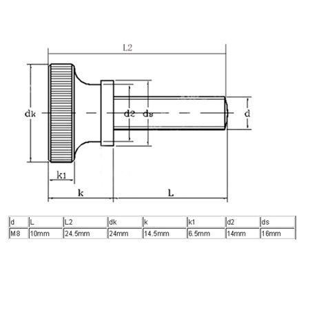 M8x10mm Flat Knurled Head Fully Threaded Thumb Screws Bolts Fastener 2pcs - image 1 of 2