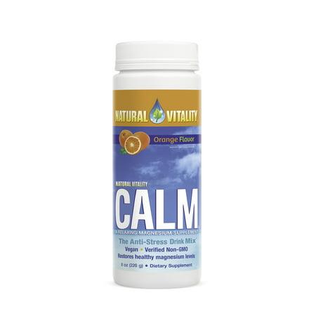 Natural Vitality Calm, The Anti-Stress Dietary Supplement Powder, Orange - 8 oz ()