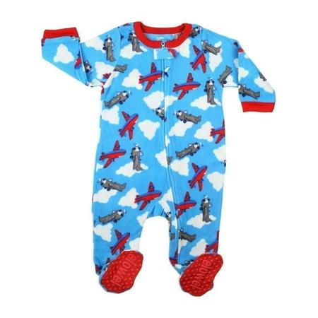 Elowel Baby Boys Blue Red Airplane Print Footed Fleece Sleeper Pajama
