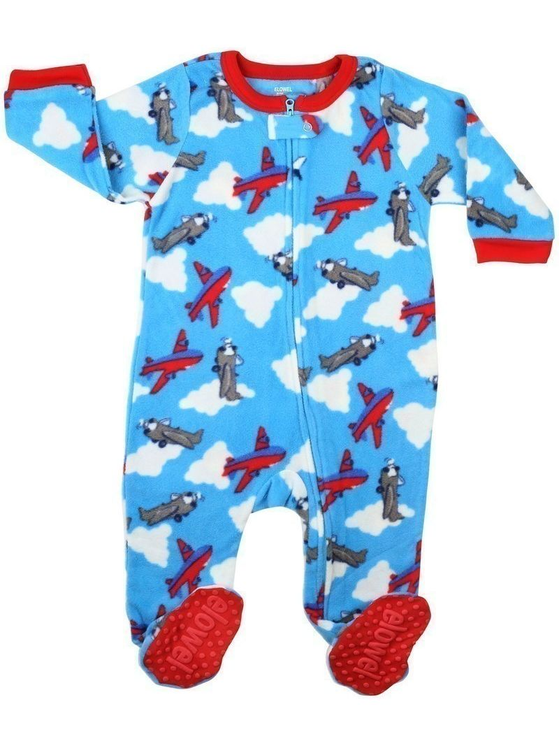 Elowel Baby Boys Blue Red Airplane Print Footed Fleece Sleeper Pajama
