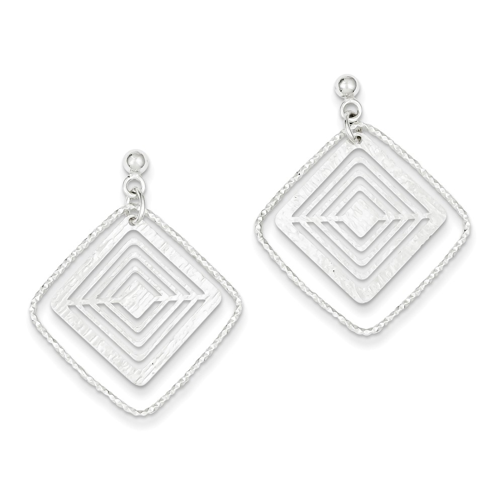 Sterling Silver Textured Square Post Dangle Earrings (1.3IN x 1IN )
