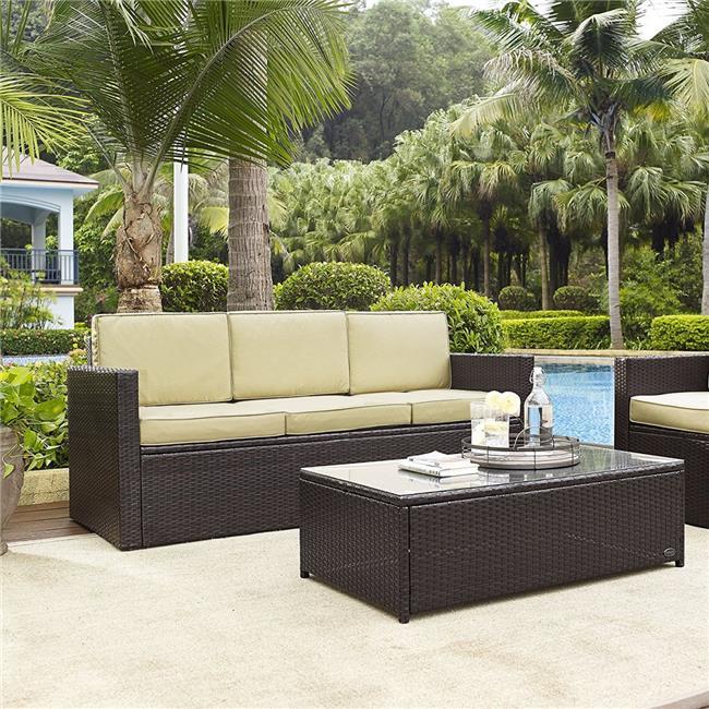 Palm Harbor Wicker Patio Sofa, Brown with Sand Cushion