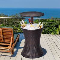 Costway 1PC Adjustable Outdoor Patio Rattan Ice Cooler Cool Bar Table Party Deck Pool