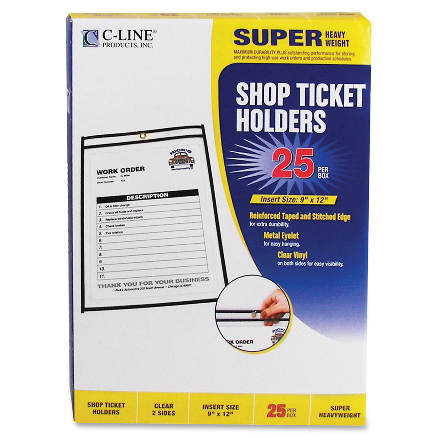 C-Line Vinyl Shop Ticket Holders 80911 8.5 x 11 Inches Both Sides Clear 50 per Box