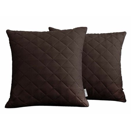 Subrtex Set of 2, Soft Decorative Square Throw Pillow Covers Set Cushion Cases Pillowcases for Sofa Bedroom (Chocolate) ()