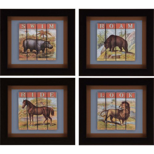 Paragon Animals Traditional Animals Pack of 4 Wall Art 3115