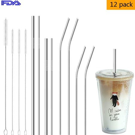 8pcs Stainless Steel Straws - Reusable Straws for 30oz 20oz Tumblers Cups Mugs/Metal Drinking Straws with Cleaning Brush for 30 20 Ounce Beverage Yeti Rambler Rtic Ozark Trail by