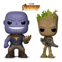 Warp Gadgets Bundle - Funko Pop Marvel Avengers Infinity War - Thanos and Groot w/ Blaster (2 Items)