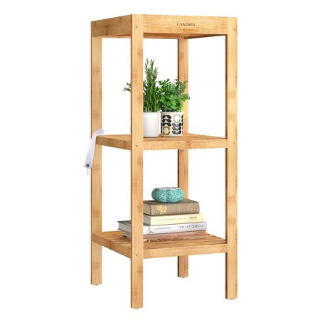 LANGRIA Bamboo Shelf 3-Tier Multi-function Utility Storage Shelving Unit, Free Standing Kitchen Rack, Corner Shelf, Display Stand for Living Room, Hallway, Balcony (14