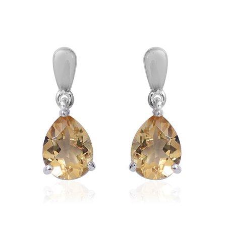 Dangle Drop Earrings 925 Sterling Silver Pear Citrine Gift Jewelry for Women Cttw - Citrine Pear Drop Earrings