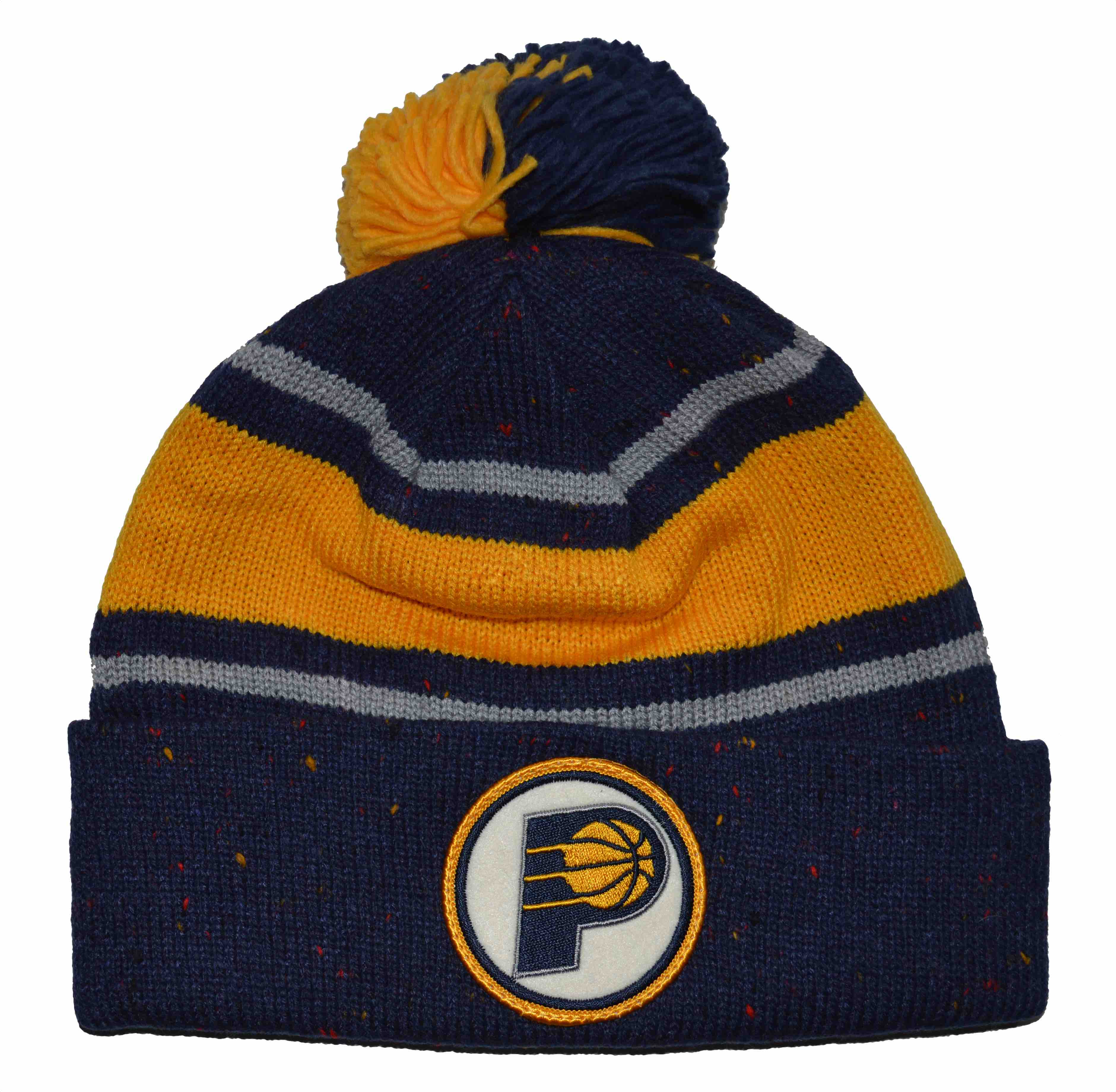 Indiana Pacers Mitchell Ness Speckled Cuffed Pom Knit Beanie Cap Hat by
