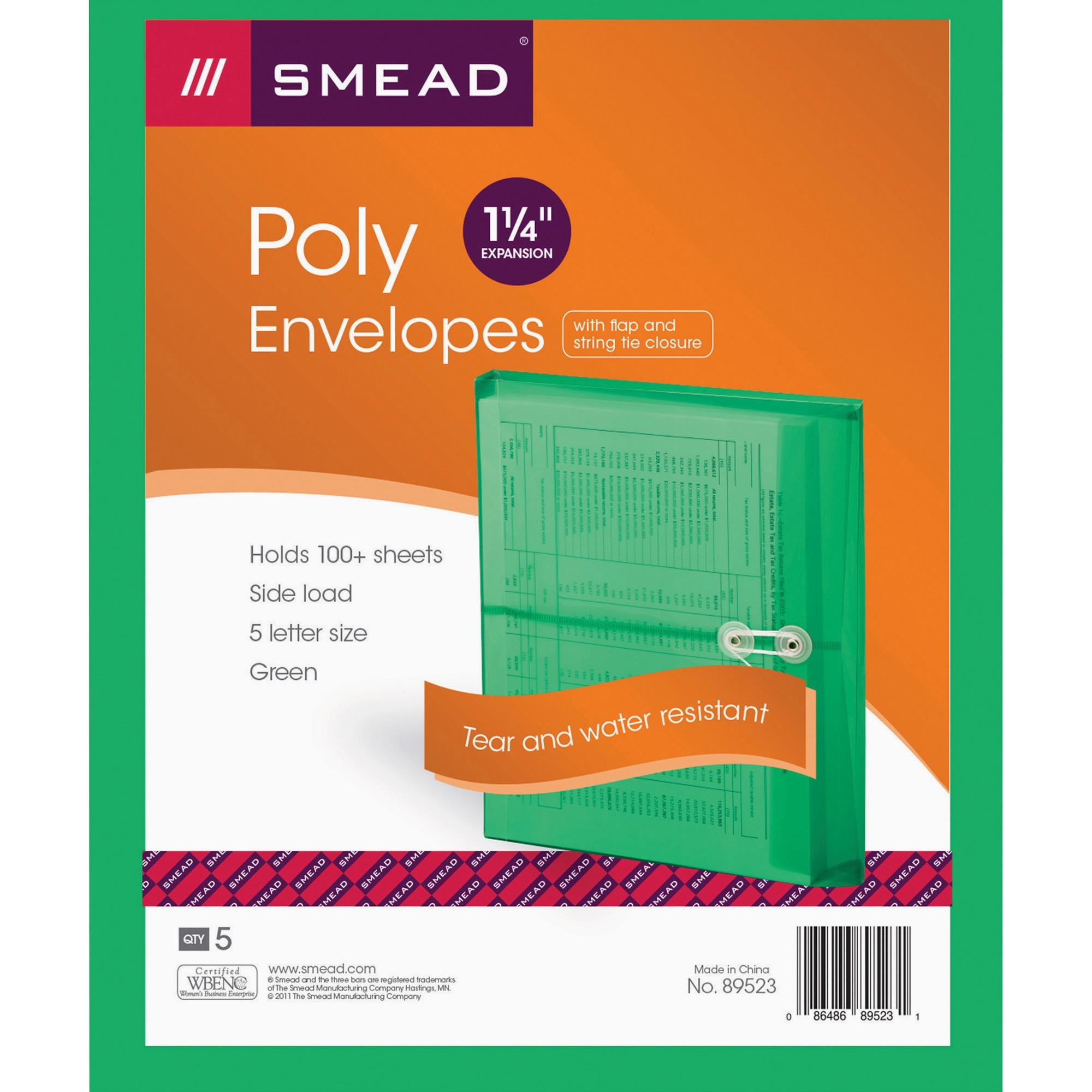 Smead, SMD89523, String Tie Closure Poly Envelopes, 5 / Pack, Green