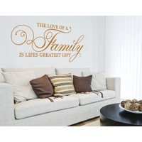 The Love of a Family is Lifes Greatest Gift Wall Decal - wall decal, sticker, mural vinyl art home decor, quotes and sayings - 3869 - Gold, 59in x 27in