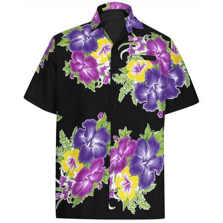 Hawaiian Shirt Mens Beach Aloha Camp Party Holiday Short Sleeve Pocket Hibiscus Floral Print I - Kids Hawaiian Shirts