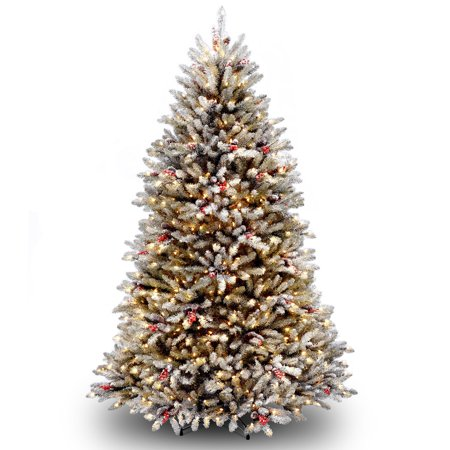 6.5' Dunhill Fir Artificial Christmas Tree with Red Berries – Clear Lights - 6.5' Dunhill Fir Artificial Christmas Tree With Red Berries €� Clear