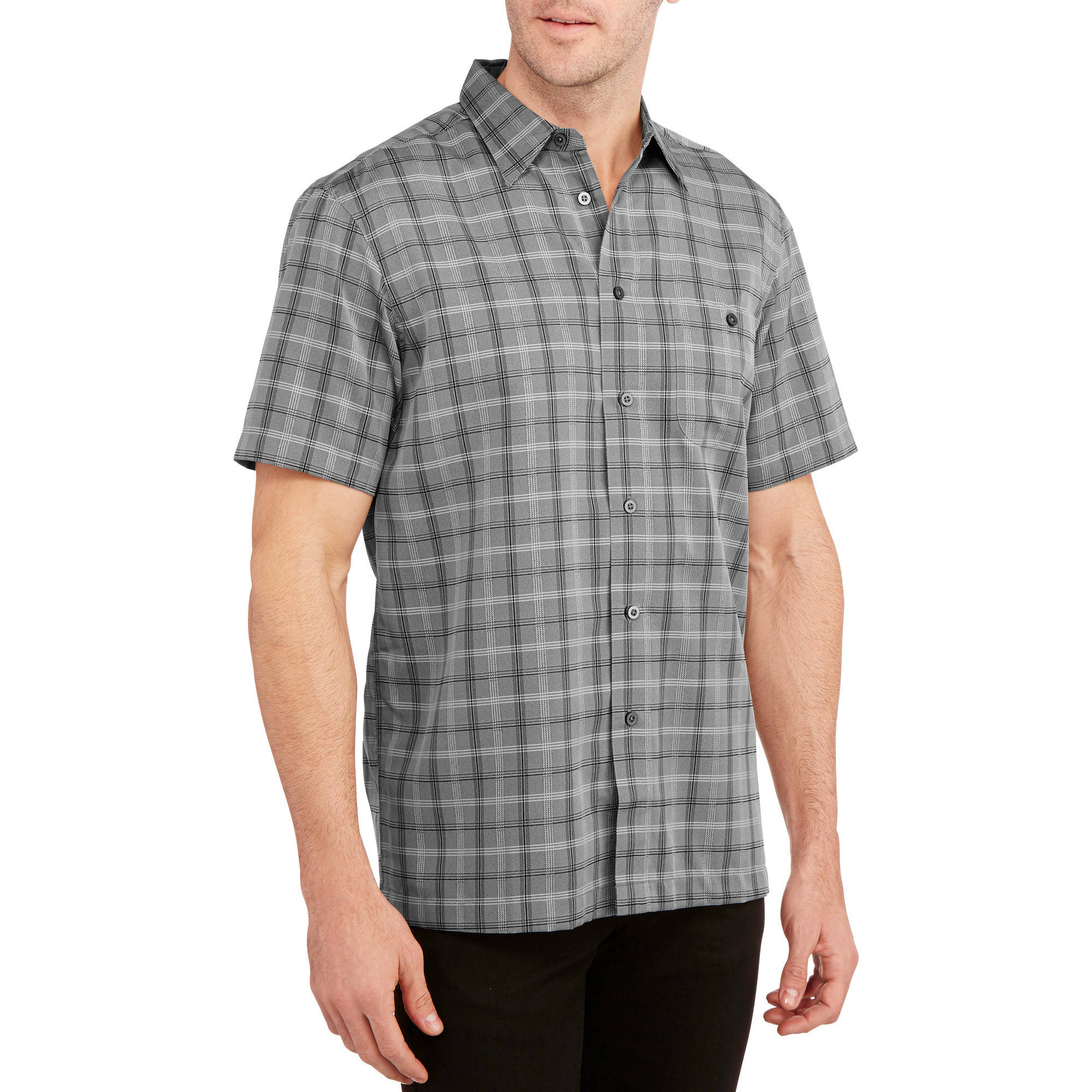 George Men's Short Sleeve Microfiber Shirt - Walmart.com
