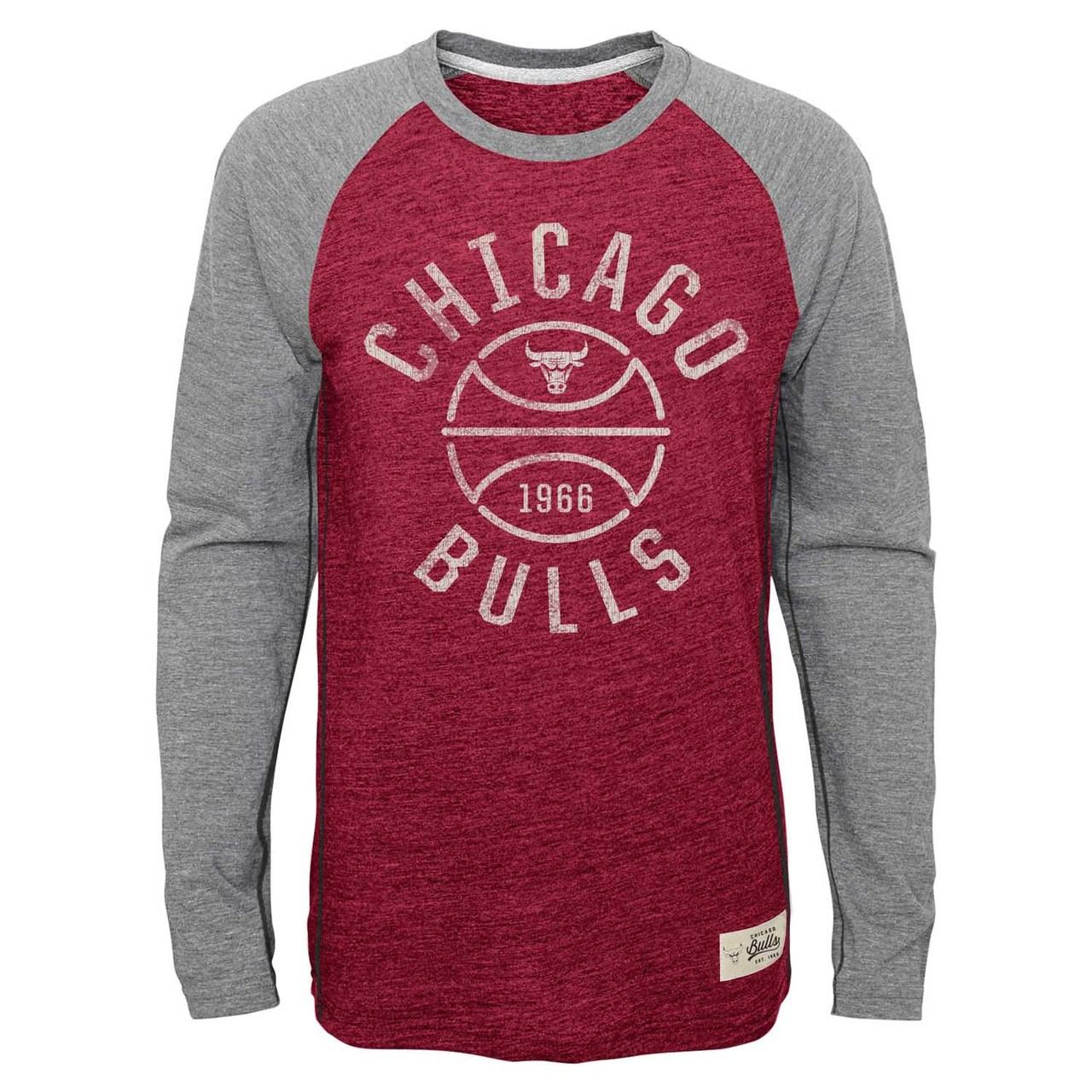 Chicago Bulls Youth NBA Basketball Roots Raglan Long Sleeve Shirt  - Red