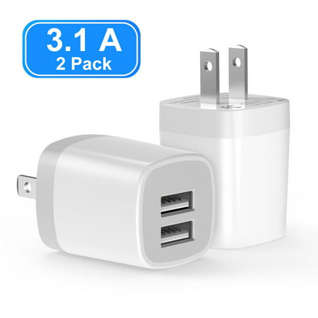 2-Pack USB Wall Charger, Vogek 3.1A  Dual Port USB Wall Charger Universal Power Adapter for Cell Phone, MP3, Bluetooth Speaker Headset and More Power Adapter Cell