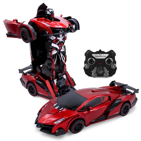 Kids RC Toy Car Transforming Robot One Button Transformation Engine Sound Dance Mode 360° Spinning Speed Drifting 2 Band 2.4 GHz Remote Control RC Vehicle Toys For Boys Sports Car Red Red Sports Car