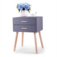 Jaxpety Set of 2 Side End Table Nightstand with 2 Drawers Storage Mid-Century Accent Wood Furniture, Wooden Gray