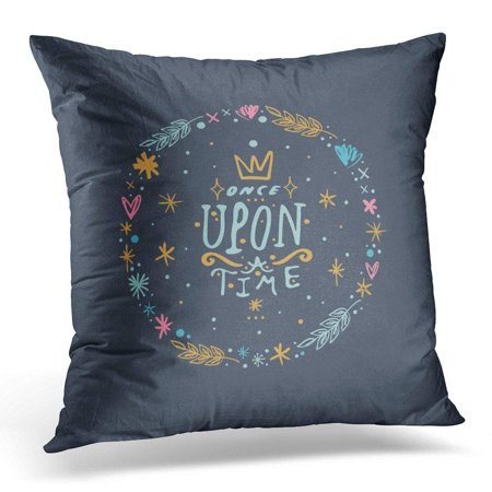 Other Pastels (CMFUN Hipster Clip Once Upon Time Crown Lettering Magical Pastel Stars Fairy Tale Patterns and Other Objects Pillow Case Pillow Cover 20x20 inch )