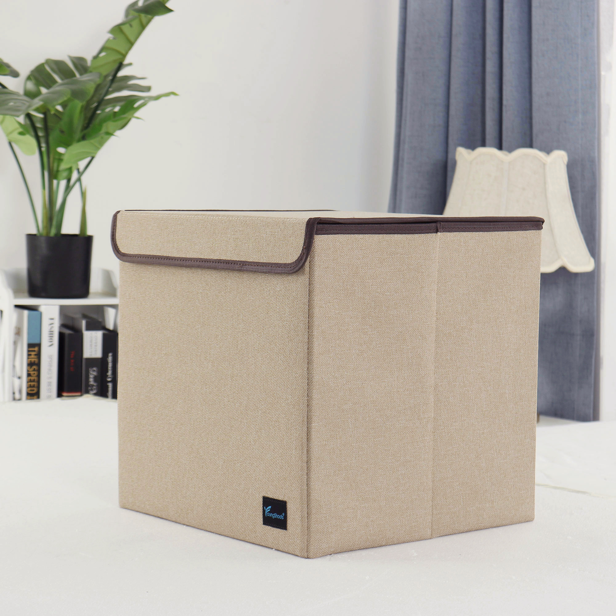 13'' Foldable Fabric Storage Basket Cube Bin Toy Organizer with Lid Khaki