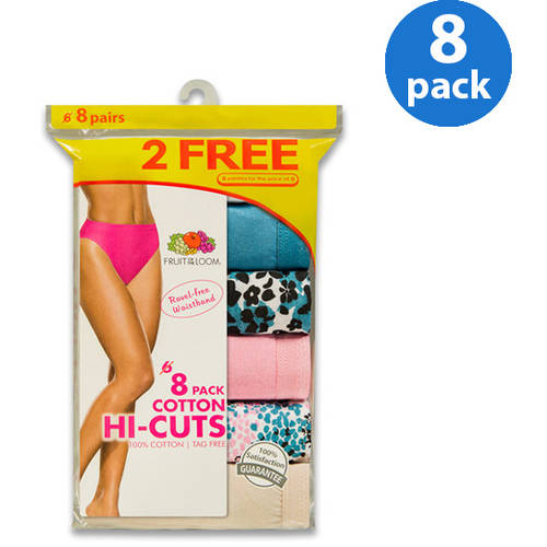Fruit of the Loom Ladies' Cotton Hi-cuts 6+2 Bonus Pack