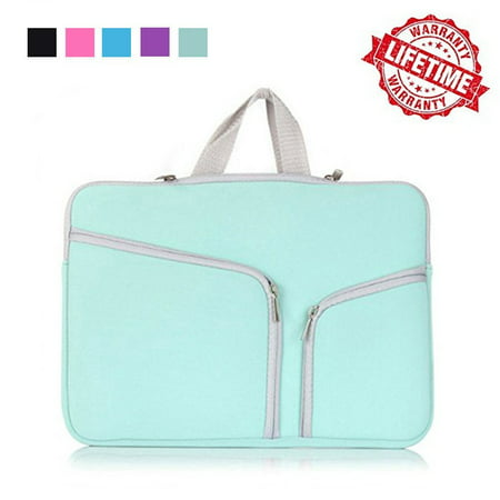 IClover 13 Inch Waterproof Thickest Protective Slim Laptop Case for Macbook Apple Samsung Chromebook HP Acer Lenovo Portable Laptop Sleeve Liner Package Notebook Case Bag Soft Green Bag Case (Pink Computer Bags For Laptops)