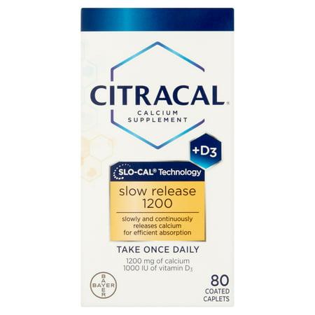 Citracal libération lente 1200 Supplément calcium + D3, 80 count