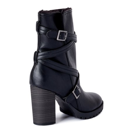 Scoop Women's Ashley Strappy Moto Heeled Boots