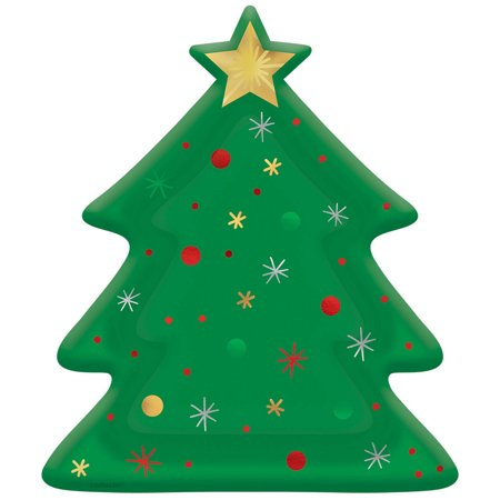 Christmas Tree Extra Large Shaped Paper Plates (8ct) ()
