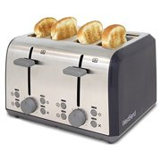 West Bend 78824 Extra Wide Slot Toaster with Bagel Settings Ultimate Toast Lift and Removable Crumb Tray, 4-Slice, Silver