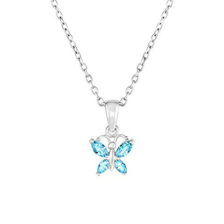Sterling Silver Butterfly Pendant Necklace with Simulated Birthstone CZ for Girls, 16'' - Butterfly For Girls