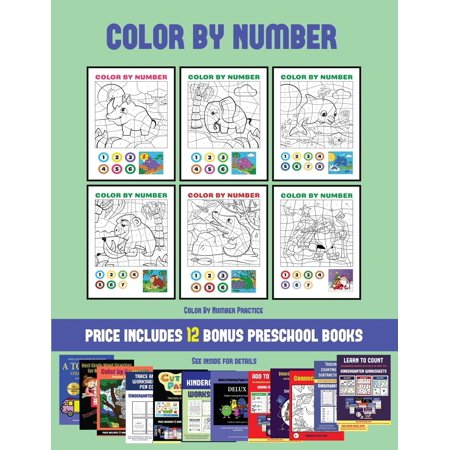 Color By Number Practice (Color by Number) : 20 printable color by number worksheets for preschool/kindergarten children. The price of this book includes 12 printable PDF kindergarten/preschool workbooks - Printable Halloween Puzzle Worksheets