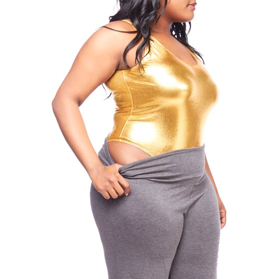 027183930a8 Womens Plus Size Sexy Solid Sleeveless Bling Tank Back Open Bodysuit  1762-XL-Gold