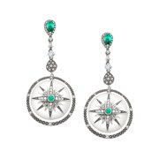 Twinkle Star Drop Earrings with Cubic Zirconia in Rhodium-Plated Sterling Silver