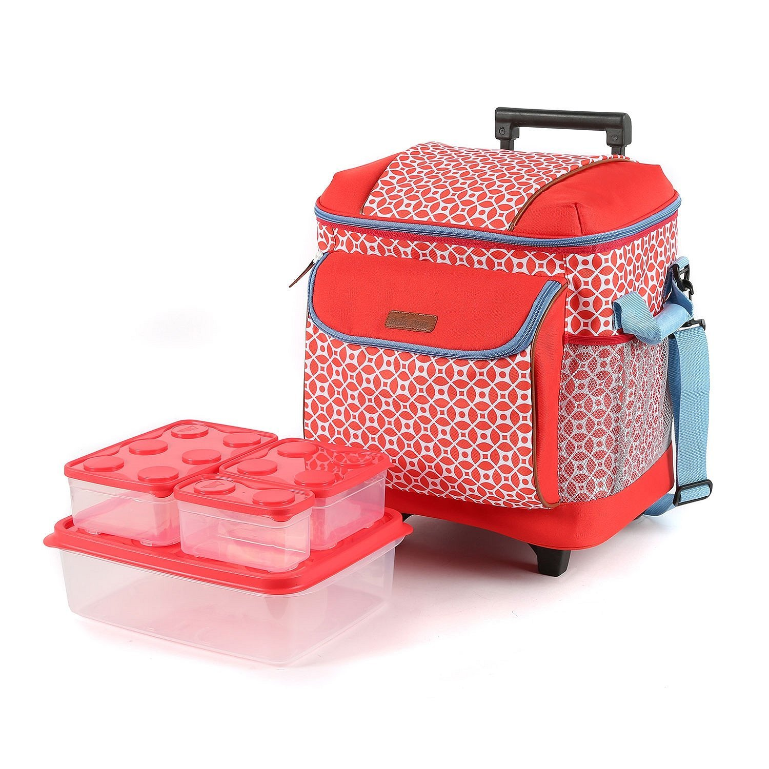 Insulated Rolling Tote, Retro-rific (Coral), Includes Interlockers Eight-Piece Food Container Set 4.9L jumbo container 1.31 large container.., By Arctic Zone