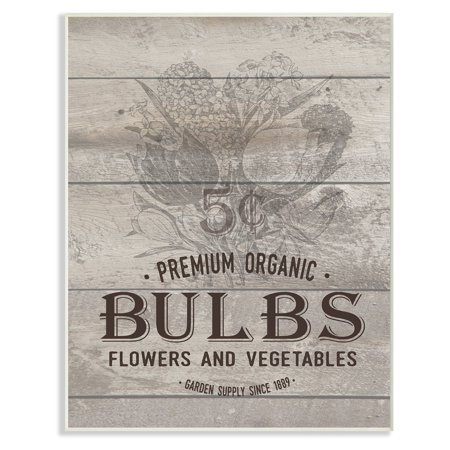 The Stupell Home Decor Collection Premium Organic Bulbs Vintage Sign Wall Plaque Art ()