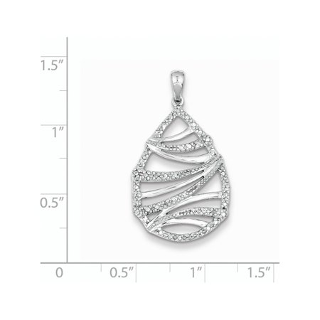 925 Sterling Silver Rhodium Plated Diamond Teardrop (18x27mm) Pendant / Charm - image 1 de 2