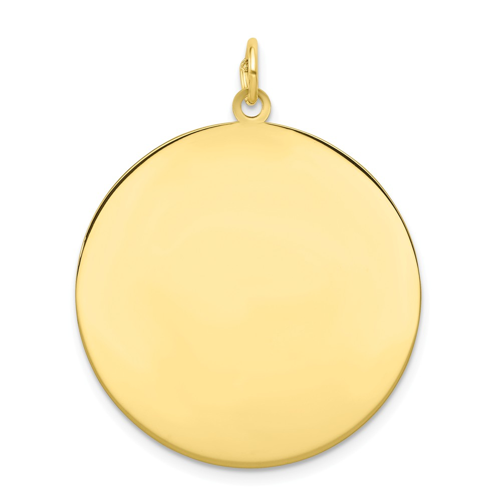 10K Yellow Gold Plain .018 Gauge Circular Engravable Disc Charm (35mm x 28mm)