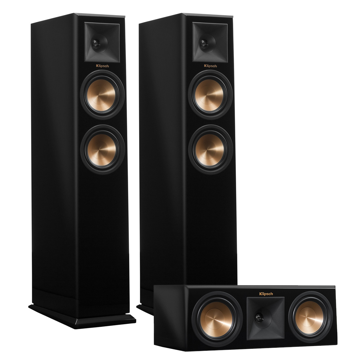 Klipsch RP-250F Reference Premiere Floorstanding Speaker Pair with RP-250C Center Channel Speaker (Piano Black) by Klipsch