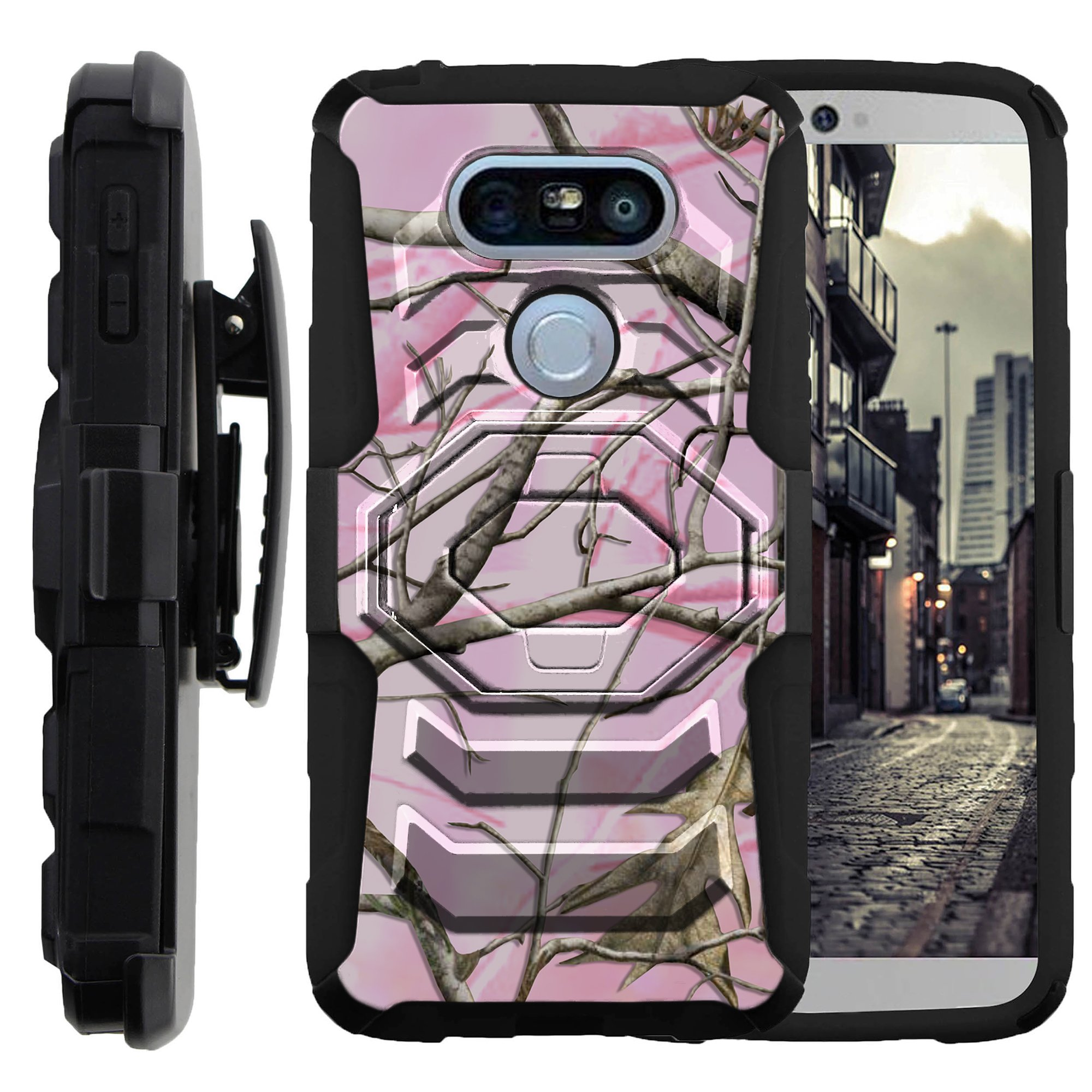 Case for LG G5 | LG G5 Case | G5 Holster Case [Armor Reloaded] Heavy Duty case with Kickstand + Bonus Belt Clip - Pink Hunters Camouflage