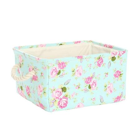 Large Fabric Storage Basket Bins Toys Box Organizer with Drawstring Floral