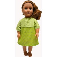 18 inch doll clothes green dress fits 18 inch girl dolls and 15-16 inch baby dolls