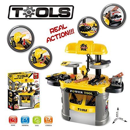 Kids Builders Luxury Tool Workbench Table Workshop 64 Piece Power Tool Bench Construction Toy Set w/ Tools Accessories Toy , Boys & Toddlers Toy Work Shop Tools Workbench for Kids (Power Workshop 8)